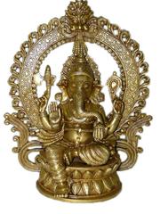 Sitting Ganesha Brass Murti Alter Idol Chaturbhuja Ganesh Statue