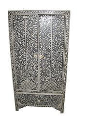 Antique India Furniture Bone Inlay Armoire Cabinet Chest 54