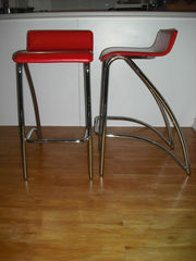 2 Red Bar Stools/Breakfast Stools