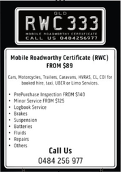 Mobile Roadworthy Certificate RWC